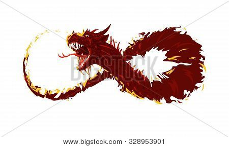 Flying Fire Dragon. The Dragons Body Took The Form Of A Symbol Of Infinity
