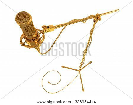Golden Microphone On The White Background. 3d Illustration.