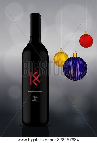 Wine Bottle Vector Illustration With Christmas Ornaments / Celebrations