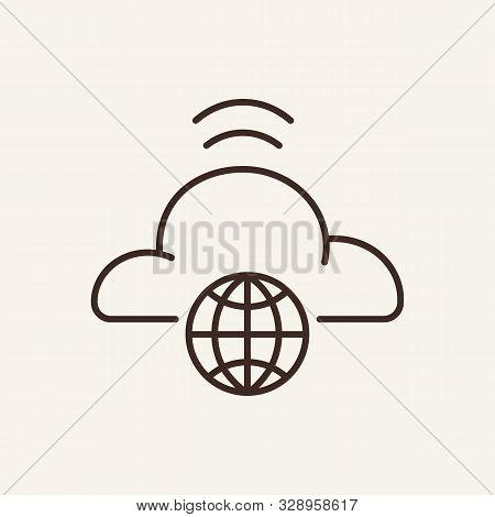 Cloud Communication Line Icon. Planet, Cloud, Wireless. Communication Service Concept. Vector Illust