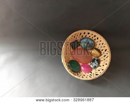 Semiprecious Stones Cabochon In A Cane Bowl. Healing Stones Malachite Labradorite Snowflake Obsidian