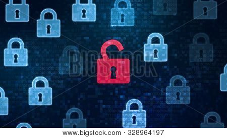 Security Breach Concept. Red Open Padlock Icon Among Closed Padlocks On Digital Screen As A Symbol O