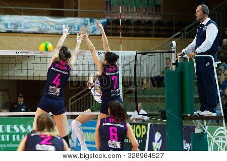 Odessa, South, Ukraine - October 15, 2019: Women's European Volleyball Championship. Female Khimik Y