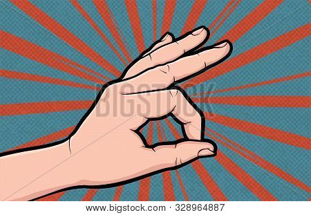 Hand Gesture Ok Comic Book Pop Art Isolated. Like Positive Gesture. Sketch Cartoon Retro Good Symbol