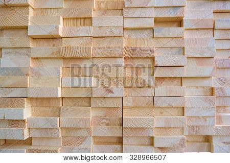 poster of Stack of three-layer wooden glued laminated timber beams from pine finger joint spliced boards