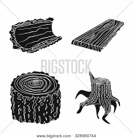 Vector Illustration Of Hardwood And Construction Logo. Collection Of Hardwood And Wood Stock Symbol