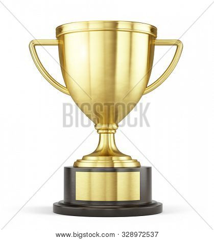 First place gold trophy cup isolated on white background. 3d rendering