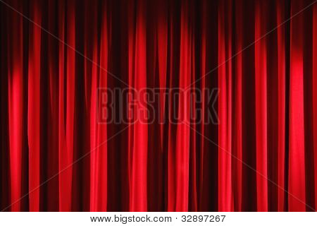 Red velvet stage curtain