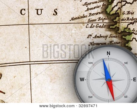 Compass on the map - 3d Object Series poster