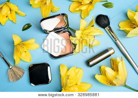 Flat View Of Cosmetics - Lipstic, Face-powder, Brushes On Color Background.