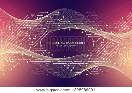 Computer Motherboard Vector Background With Circuit Board Electronic Elements. Electronic Texture Fo