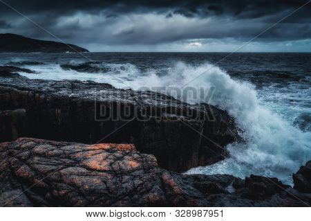 Stormy Waves At Barents Sea, Arctic Ocean. Kola Peninsula, Murmansk Region In Russia