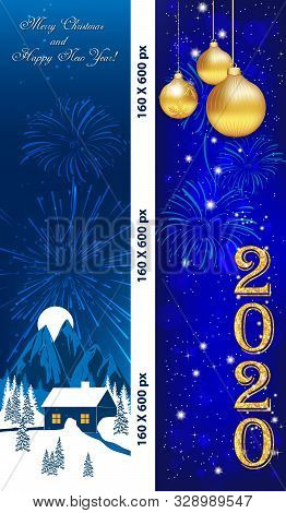 Two Vertical Banners Designed For The New Year 2020 Celebration. Web Colours Used.
