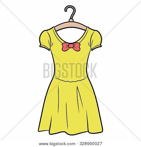 Illustration Of A Yellow Dress On A Hanger On A White Background