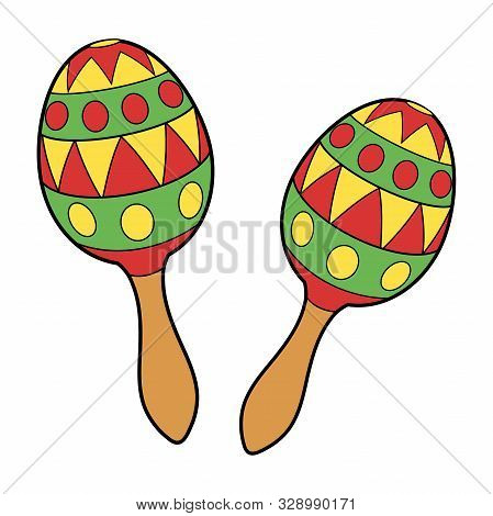 Illustration Of Two Colorful Maracas On A White Background