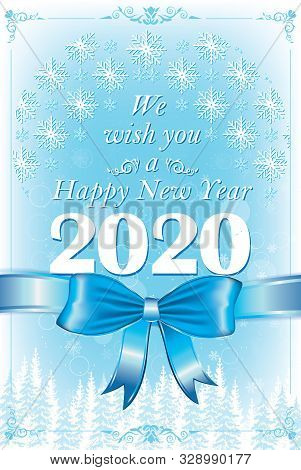 Happy New Year 2020. Vintage Design Greeting Card.