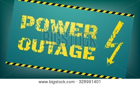 Power Outage Concept. Blackout Illustration. Yellow Grunge Inscription And Lightning Icon. Text And