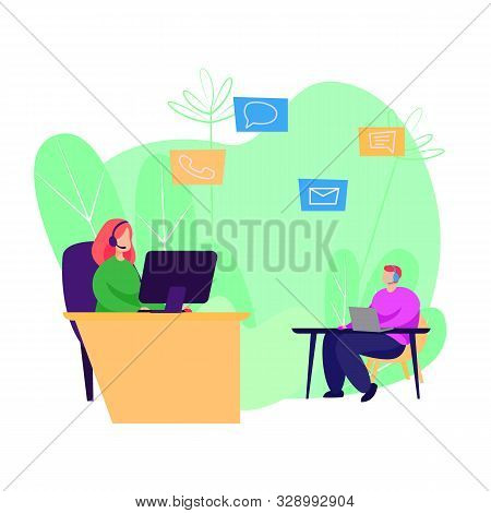 Call Center Operator Using Computers. Wearing Headsets, Workplace, Desktop. Business Concept. Vector