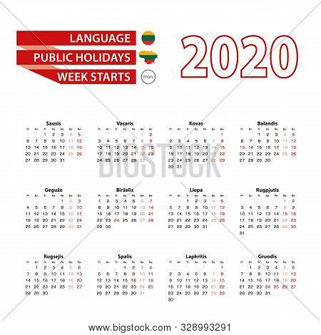 Calendar 2020 In Lithuanian Language With Public Holidays The Country Of Lithuania In Year 2020. Wee