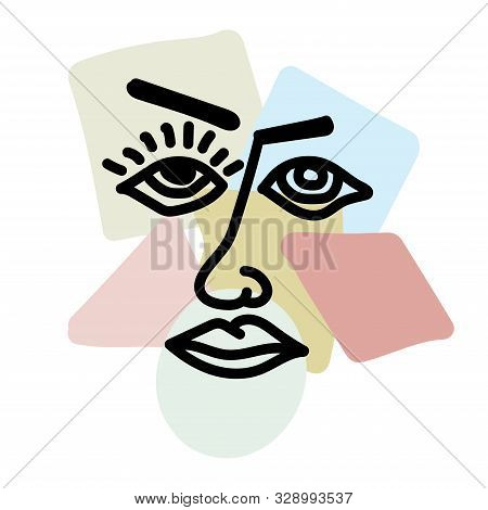 Silhouette Person On Background Geometric Shapes. Abstraction, Cubism, Minimalism. Colorful Vector I