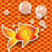 Seamless pattern of small colorful goldfish or koi fish scales forming a pattern repeat pattern perfect good fortune wallpaper poster