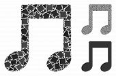 Music notes mosaic of unequal items in various sizes and color hues, based on music notes icon. Vector tuberous items are combined into collage. Music notes icons collage with dotted pattern. poster
