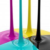 CMYK liquid inks spilling, 3D render image poster