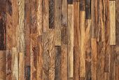 Mosaic of old wooden slats, wooden planks. Brown slats, planch, bred wall. Vintage rustic close-up wood texture. poster
