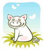 Cartoon happy piggy and butterflies on a blue sky background. poster