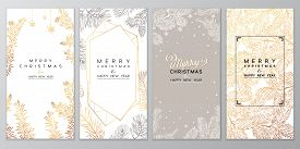 Christmas Poster Set. Vector Illustration Of Christmas Background With Branches Of Christmas Tree.