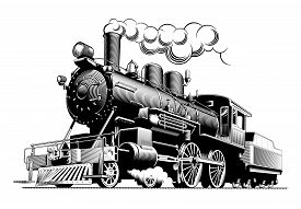 Vintage Steam Train Locomotive, Engraving Style Vector Illustration. On Brown Background. Logo Desig