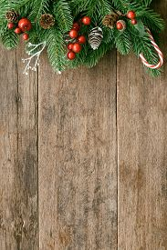 Holiday Christmas Wallpaper. Christmas Card Background With Festive Decoration. Wood Plank For Greet