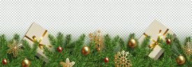Christmas, New Year Border. Realistic Branches Of Christmas Tree Decorated Golden And Red Christmas