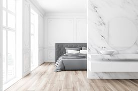 Luxury White Marble Bedroom And Bathroom Interior