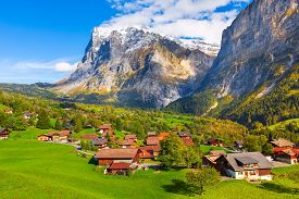 Grindelwald, Switzerland Aerial Village View And Autumn Swiss Alps Mountains Panorama Landscape, Woo