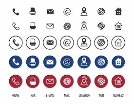 Contact Icons. Business Card Vector Symbols Collection. Information Icons, Location, Address, Mail,