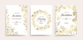 Wedding Invitation Cards. Floral Wedding Flyers With Wildflowers. Hand Drawn Gold Flowers Vintage In