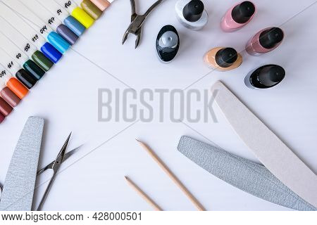 Nail Polish, Manicure Tools Table Top View Flat Lay. How To Do Manicure At Home Concept. Do Manicure