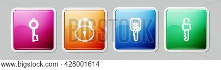 Set Line Old Key, Lock, Car With Remote And Unlocked. Colorful Square Button. Vector