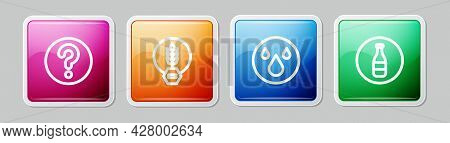 Set Line Unknown Search, Gluten Free Grain, Water Drop And Bottle. Colorful Square Button. Vector
