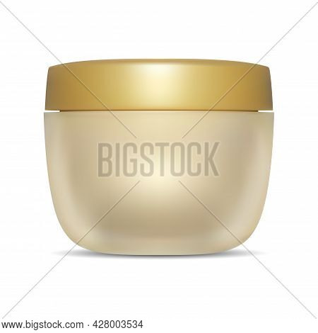Cosmetic Cream Jar, Gold Container Mockup, Plastic Cap. Round Scrub Butter Tube, Luxury Hair Lotion