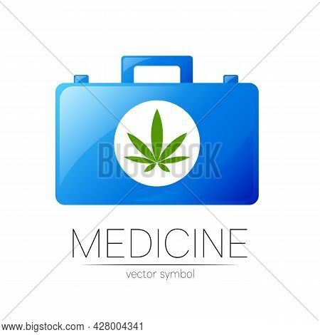 First Aid Logo Vector Medicine Symbol With Help Bag Case For Health Care Icon Of Marijuana