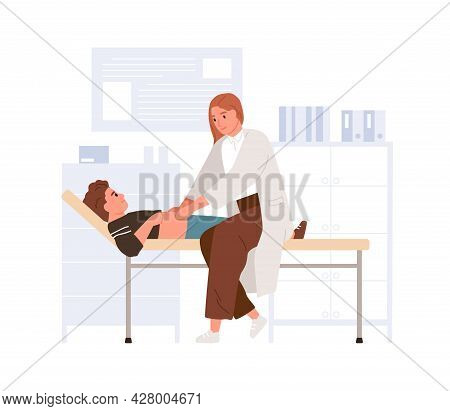 Doctor Examining Child In Pediatric Hospital. Pediatrician Palpating Kid Belly. Boy Lying On Couch A