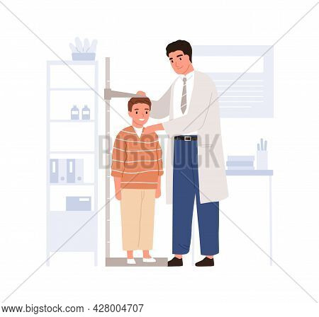 Pediatrician Measuring Kids Height With Stadiometer In Pediatric Doctor Office. Child Visiting Physi