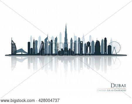 Dubai Skyline Silhouette With Reflection. Landscape Dubai, Uae. Vector Illustration.