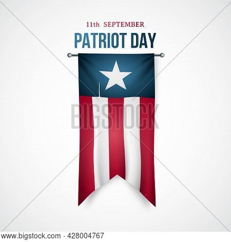 September 11, 2001, Patriot Day. Banner With Realistic Flag Hanging Vertically. Vector Design Templa