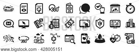 Set Of Business Icons, Such As Timer, View Document, Credit Card Icons. Cardio Training, Passport, P