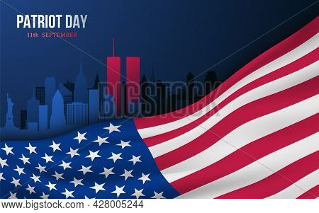 Vector Banner Design Template With American Flag And New York Skyline For Patriot Day. Remembrance O