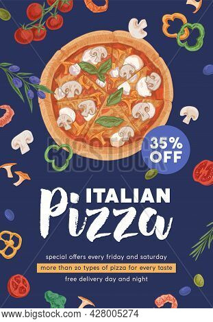 Ad Flyer Template With Realistic Vegetarian Pizza Circle For Pizzeria And Italian Food Cafe Promotio