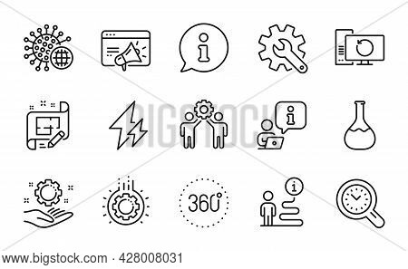 Science Icons Set. Included Icon As 360 Degrees, Seo Marketing, Employees Teamwork Signs. Coronaviru